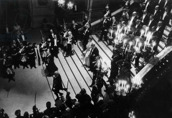 Visit of Queen of England Elizabeth Ii in Paris, April 9, 1957 : here at Garnier Opera With French President Rene Coty (b/w photo)