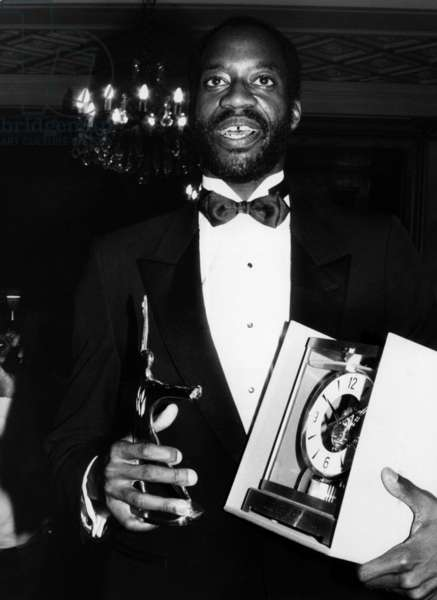 Edwin Moses, Double Olympic Champion of the 400 Metres Hurdles, Having received the Grand Prix of the Sports Academy. March 20, 1985 (b/w photo)