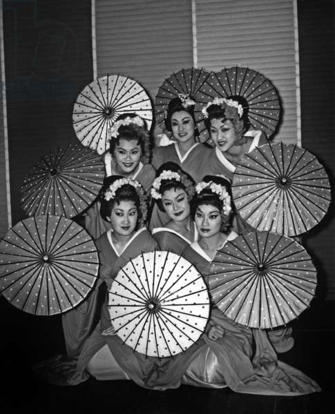 """Japanese Imperial Dancers Keigo In Traditional Colorful Costumes During Repetitions Of """"Japanese Holiday"""" In Pigalle On December 9, 1960 (b/w photo)"""