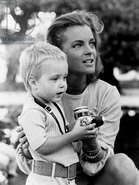 Actress Romy Schneider With her Son David Between Two Takes on Set of Film The Sinners Aka The Swimming Pool September 5, 1968 (b/w photo)