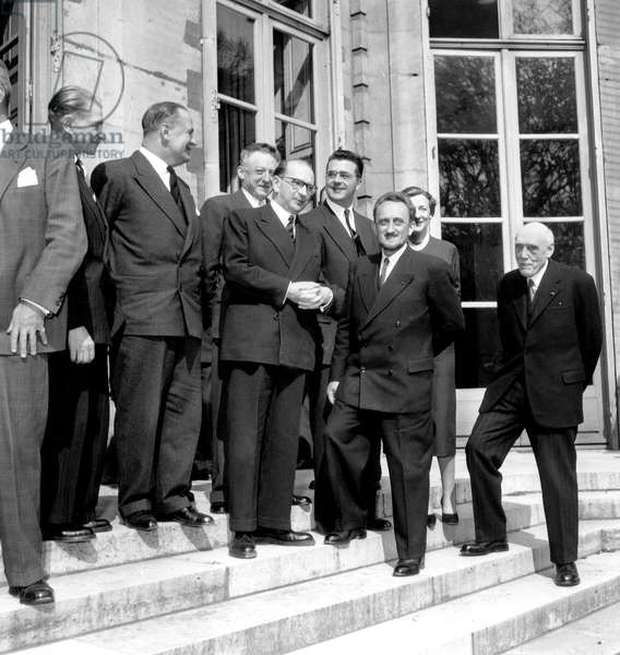 Henri Longchambon Gaston Palewski Edgar Faure Felix Gaillard Francis Perrin and De Broglie at Conference For Pacific Use of Nuclear Energy April 21, 1955 (b/w photo)
