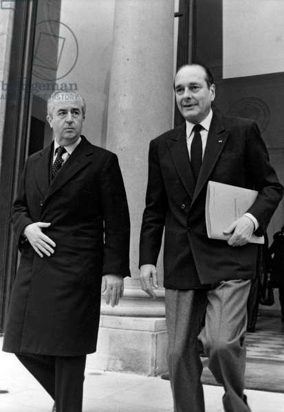 Edouard Balladur and Jacques Chirac (b/w photo)
