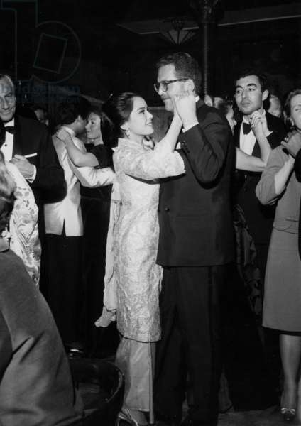 Mrs Ratna Sari Dewi Soekarno and Baron Edmond De Rotschild Dancing at Maxim'S Restaurant, Paris, February 8, 1966 (b/w photo)