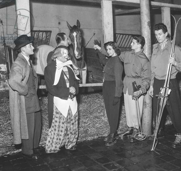 Presentation of men's fashion at Medrano circus, Paris, October 20, 1950 : the clown Boulicot (b/w photo)