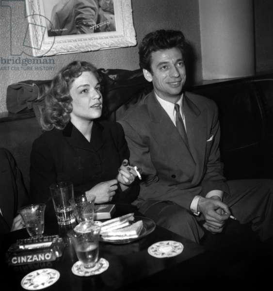 Simone Signoret and Yves Montand at Presentation of Film La Marie Du Port March 24, 1950 (b/w photo)