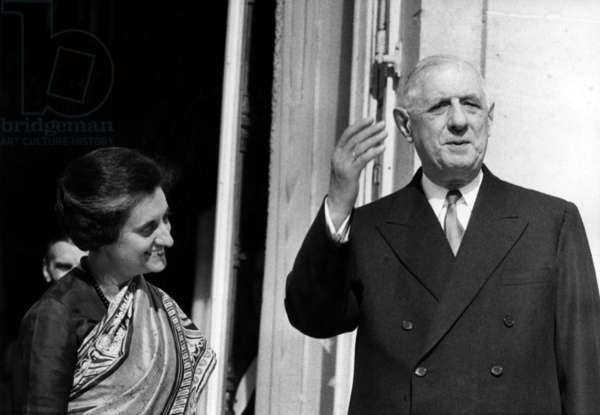 Indira Gandhi (Prime Minister of India) And General Charles De Gaulle, French President, At the Palais De L'Elysee In Paris, 25 March 1966 - (b/w photo)