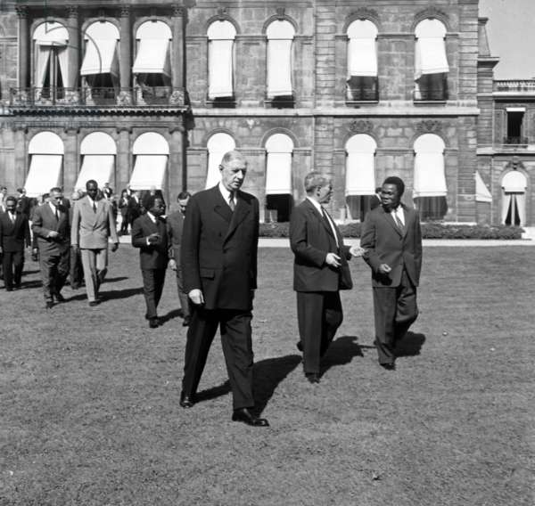 French President Charles De Gaulle at Elysee For Meeting With African Politicians of Franco-African Community, Paris, September 11, 1959 (b/w photo)