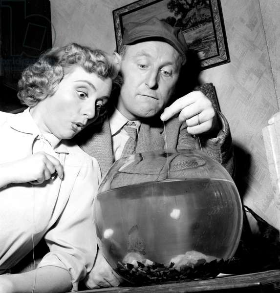 Annie Cordy et Bourvil sur le film April Fish 3 mars 1954 (photo b/w)