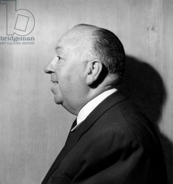 Alfred Hitchcock in Paris on March 14, 1958 (b/w photo)