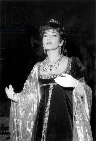 Maria Callas during Rehearsal of Opera Tosca at Paris Opera House, February 18, 1965 (b/w photo)