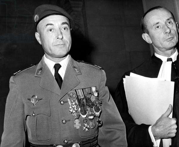 Colonel Ceccalali Arriving at The Trial Which Followed The Putsch of The French Officers in Algiers May 29, 1961 during War in Algeria (b/w photo)
