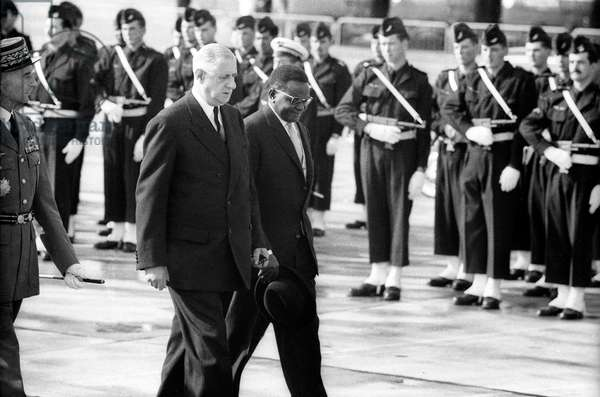 French President Charles De Gaulle Receiving President of Niger Diori Hamani at Orly Airport in Paris, September 27, 1961 (b/w photo)