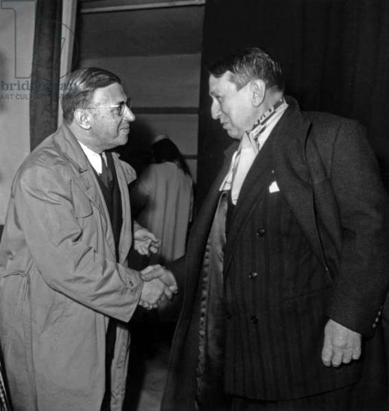 "Author Jean Paul Sartre With Francis Carco at Performance of Play ""Les Mains Sales"" April 2, 1948 Theatre (b/w photo)"