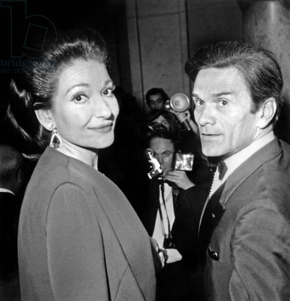 Soprano Maria Callas With Director Pier Paolo Pasolini Arriving at Paris Opera House For Gala of Film Medea January 29, 1970 (b/w photo)