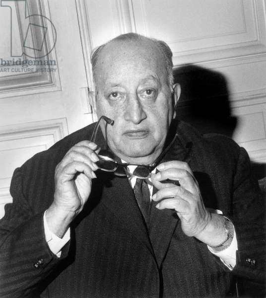 Miguel Angel Asturias (1899-1974) Writer and Ambassador of Guatamala in France, Literature Nobel Prize in October 1967 (b/w photo)