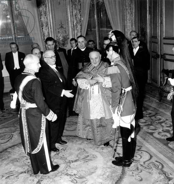President Vincent Auriol and Cardinal Ange Joseph Roncalli Future Pope John Xxiii during Red Biretta Ceremony To Papal Nuncio on January 15, 1953 (b/w photo)