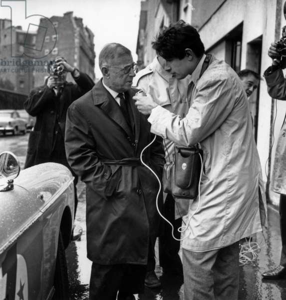 French Writer Jean Paul Sartre Interviewed By Journalist After He Refused To Receive Nobel Prize October 23, 1964 (b/w photo)