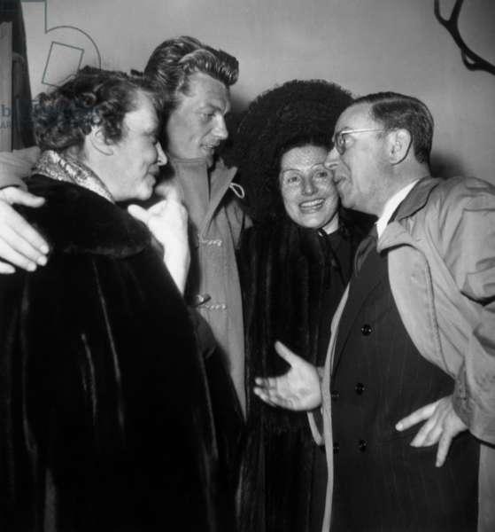 """Yvonne De Bray, Jean Marais, Simone Berriau Et Jean-Paul Sartre at Premiere of Play """"Les Mains Sales"""" April 2, 1948 (b/w photo)"""