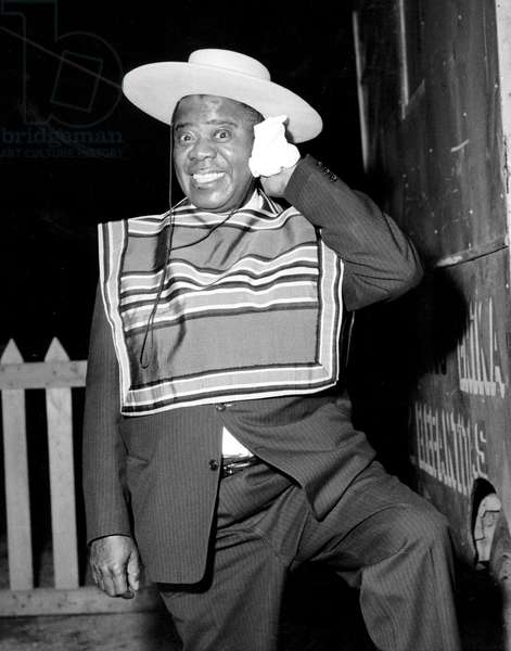 Louis Armstrong at his Arrival in Santiago Chile Where He Held Some Concert June 1962 (b/w photo)