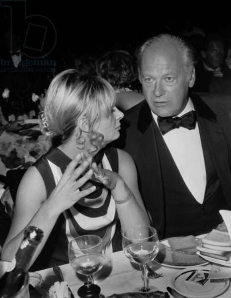 80Th Anniversary of Mauricechevalier on September 13, 1968 at Lido in Paris : Curd Jurgens and Mrs Johnny Stark (b/w photo)
