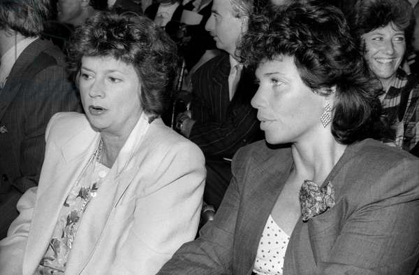French journalists Michele Cotta and Anne Sinclair during presentation of TF1 programs, Paris, August 30, 1988 (b/w photo)
