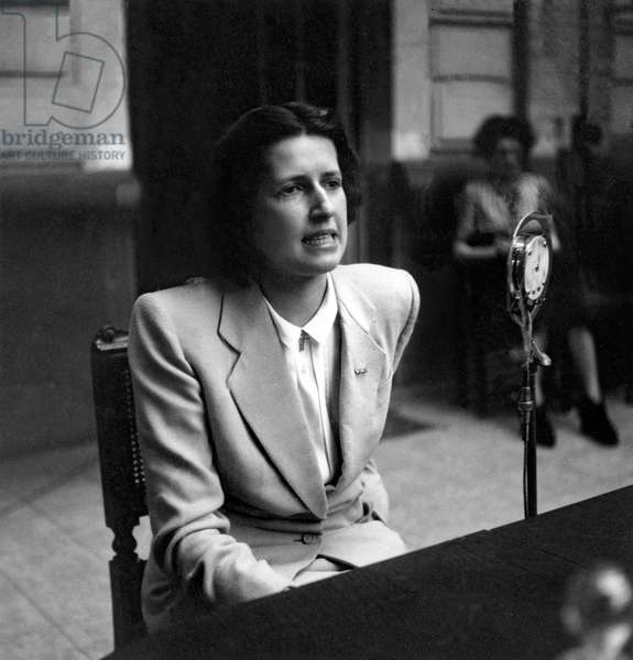 Geneviève de Gaulle-Anthonioz, reporting on her return from Ravensbruck Death Camp, 19th June, 1945 (b/w photo)