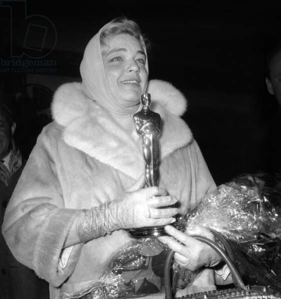 "Simone Signoret Back From Hollywood With Best Actress Academy Awards For ""Room at The Top"" April 11, 1960 (b/w photo)"