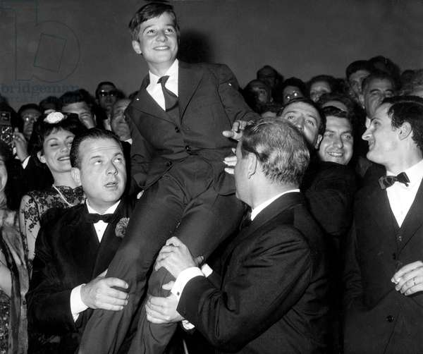 Jean Pierre Leaud at Cannes Film Festival May 6, 1959 For Film Four Hundred Blows Cinema Ovation  (b/w photo)
