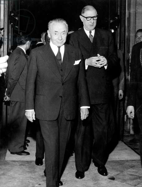 French Prime Minister Charles De Gaulle With Paul Reynaud, President of Constitutional Consultative Committee, Meeting About The Relationships Between France and Its French Overseas Territories August 08, 1958 (b/w photo)