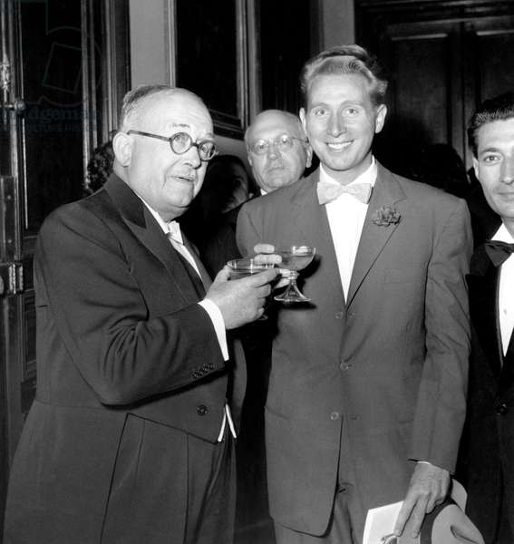 Vincent Auriol and Charles Trenet June 17, 1950 (b/w photo)