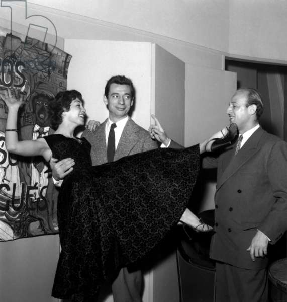 Actors Elisabeth Manet, Yves Montand and Director Yves Ciampi on Set of Film Heroes and Sinners February 2, 1955 (b/w photo)