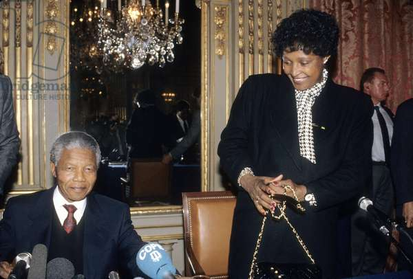 Nelson Mandela, Leader of the Anc With His Wife Winnie at a Press Conference in Paris June 8, 1990 (photo)