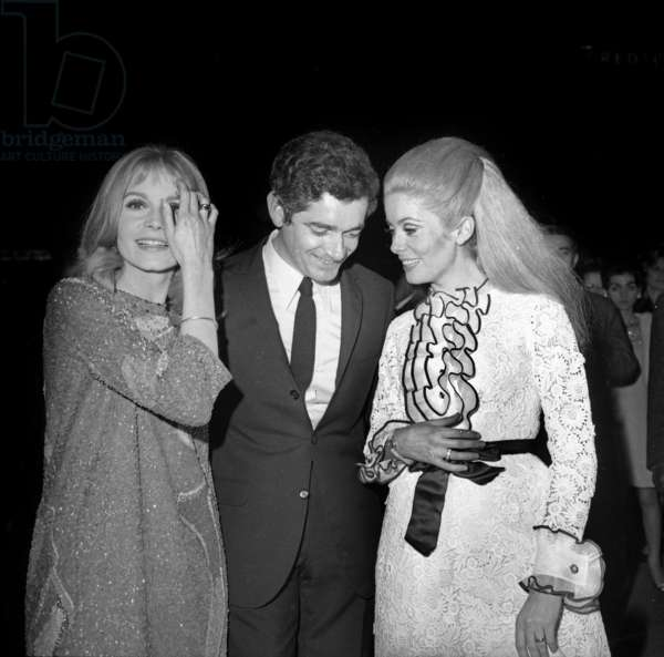Francoise Dorleac, Jacques Demy and Catherine Deneuve at Premiere of Film The Young Girls of Rochefort in Paris on March 7, 1967 (b/w photo)