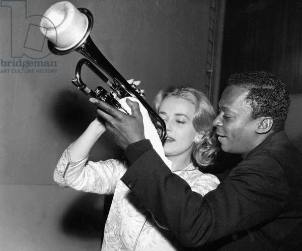 Jeanne Moreau and Miles Davis during Recording of The Music of Film