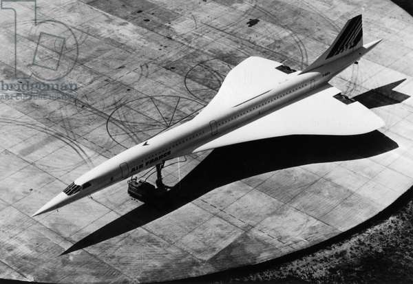 Concorde de l'avion français le 1er août 1975 (photo b/s)