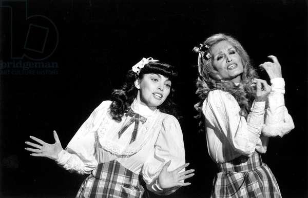 Singers Mireille Mathieu and Dalida on TV Programme January 15, 1981 (b/w photo)