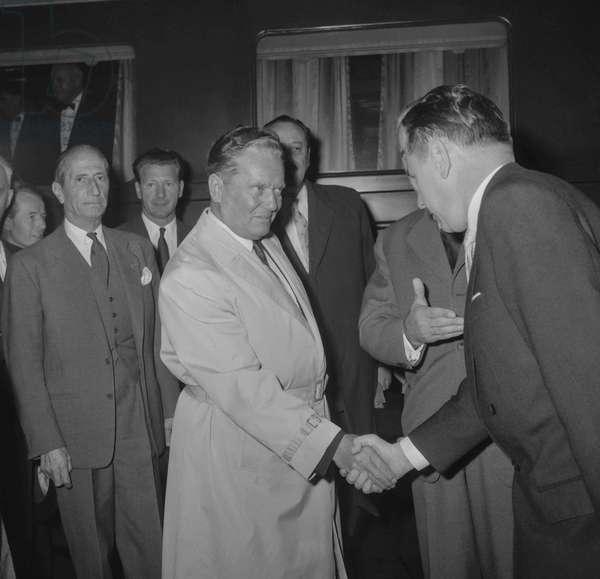 Marshal Josip Broz Tito, Yugoslavian president, arriving in Paris, September 14, 1960 (b/w photo)