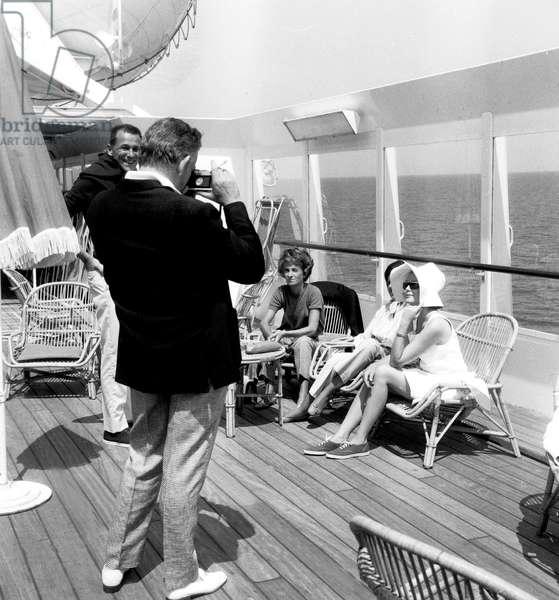 Prince Rainier and Princess Grace of Monaco during Cruise on Renaissance Liner June 03, 1966 (b/w photo)