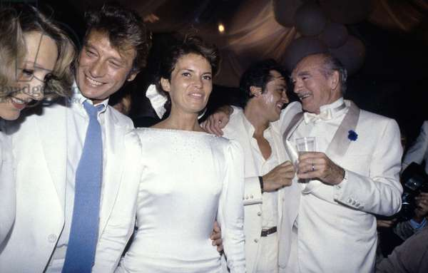 French Singer and Actors at Producer Barclay 'S Wedding : Nathalie Baye, Johnny Hallyday, Cathy The New Wife of Barclay, Alain Delon and Eddie Barclay June 22, 1984 (photo)