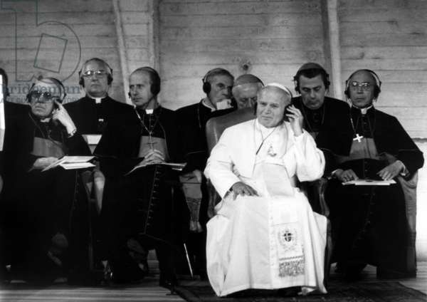 Pope John Paul Ii (Karol Wojtyla) at Unesco, Paris, June 2, 1980 (b/w photo)