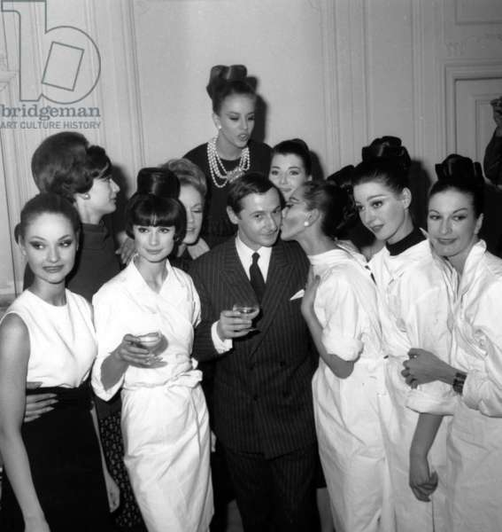 Marc Bohan (Dressdesigner For Dior) With his Models After The Showing of Dior Collection on January 31, 1963 (b/w photo)