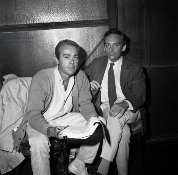 "From Left to Right: Jean-Pierre Gredy and Pierre Barillet, the Author of The Piece ""Fleur De Cactus"" Presented at the Theatre Des Bouffes Parisiens September 15, 1964. Neg: B95395 (b/w photo)"