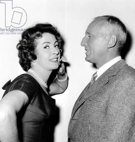 Danielle Darrieux and Bourvil on July 17, 1958 (b/w photo)