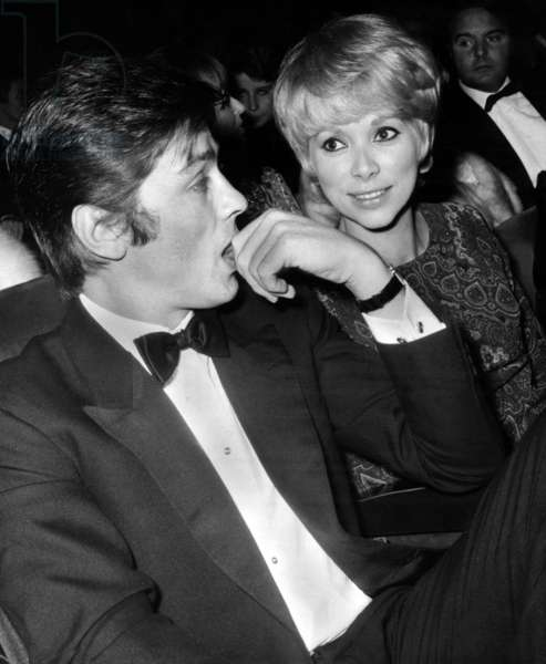 French Actor Alain Delon With French Actress Mireille Darc at Premiere of Zizijeanmaire'S Show at The Olympia on November 15, 1968  (b/w photo)