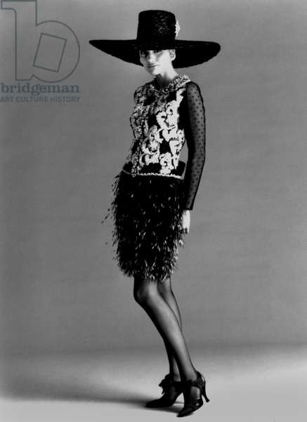 Fashion By Christian Lacroix : Haute Couture For Spring Summer 1990 (b/w photo)