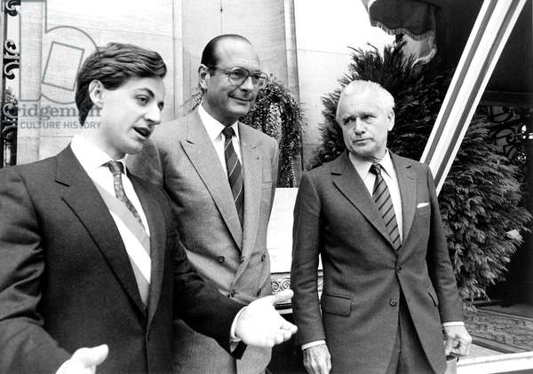 Nicolas Sarkozy (Mayor of Neuilly) Jacques Chirac (Mayor of Paris) and Jacques Chaban-Delmas (Mayor of Bordeaux) here Mai 3, 1984 during Ceremony in Tribute To Achille Peretti (1911-1983) (b/w photo)