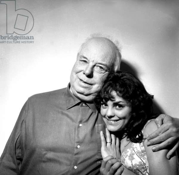 Director Jean Renoir and Catherine Rouvel June 17, 1959 (b/w photo)