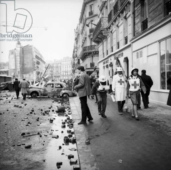 Nurses From Red Cross in A Street in Paris After Riots, May 11, 1968 (b/w photo)