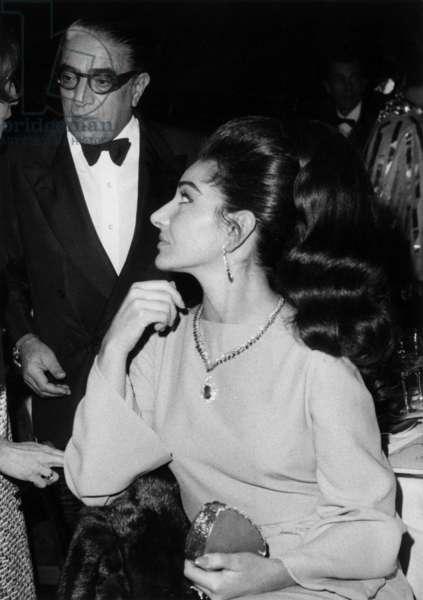 Aristote Onassis and the Opera Singer Maria Callas at Lido Show December 21, 1966, Paris (b/w photo)