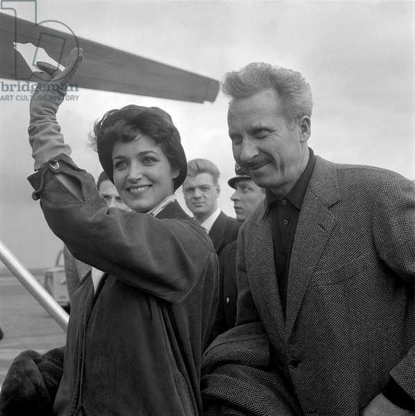 Francoise Fabian et Jacques Becker (b/w photo)
